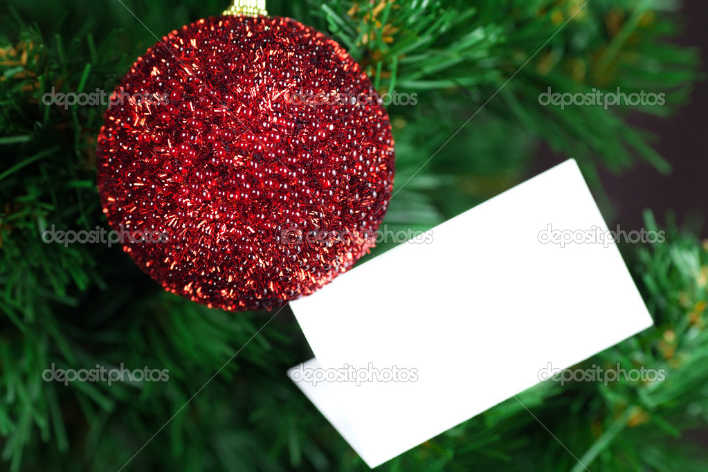 Christmas Toy and card thank you on the Christmas tree  Stock Photo #13693118
