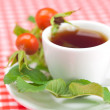 Cup of tea and rosehip berries with leaves on plaid fabric — Stock Photo #16103513