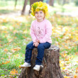 Beautiful little girl in a wreath of maple leaves sitting on stu — Stock Photo