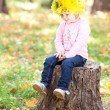 Beautiful little girl in a wreath of maple leaves sitting on stu — Stock Photo #18872201