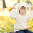 Beautiful little girl in costume bunny in the autumn forest — Stock Photo