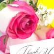 Roses, chamomile, chrysanthemums and a card with the words thank — Stock Photo