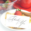 Piece of apple pie, a card with the words thank you and strawber — Stock Photo