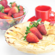 Apple pie,cup and strawberries isolated on white - Stock Photo