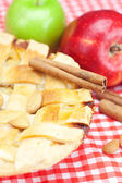 Apple pie, apples, cinnamon and almonds on plaid fabric — Stock Photo