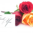 Bouquet of colorful roses and card with the words thank you isol — Stock Photo #21927583