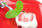 Ice cream with mint,spoon and strawberry — Stock Photo