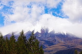 Cotopaxi Volcano in the background of blue sky and clouds — Stock Photo