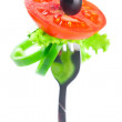 Stock Photo: Fork,black olive,lettuce, tomato and pepper isolated on white