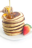 Pancakes, honey, strawberry and stick to honey isolated on white — 图库照片