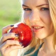 Portrait of a beautiful young woman with apple outdoor — Stock Photo #6152594