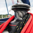 Winch in sailboat - Stock Photo
