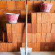 Masonry bricks, Shovel and buckets — Stock Photo