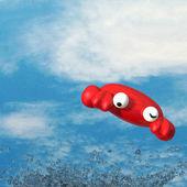 蟹、 水飞溅和漂亮的天空 — 图库照片