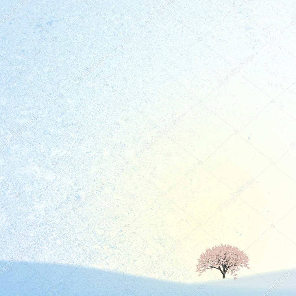 Ice background with sakura for adv or others purpose use — Stock Photo #14059081