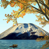 Amazing mountain with red leaf — Stock Photo