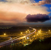 Freeway in night with cars light — Stock Photo