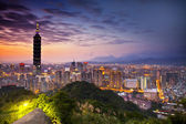 Taipei night scene with Taipei101 — Stock Photo