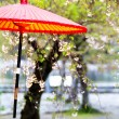 Japanese style red umbrella — Stock Photo