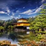 ������, ������: Beautiful sakura with gold color temple