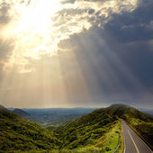 Asphalt road to the mountians — Stock Photo