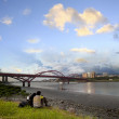 Stock Photo: Beautiful river and bridge in Taipe