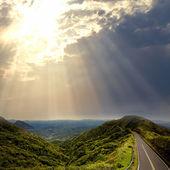 Asphalt road to the mountians — Stock Photo