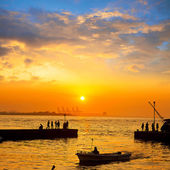 Sunset in the port — Stockfoto