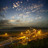 Highway in night with cars light — Stock Photo