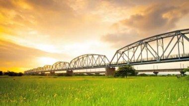 Old railway bridge — Stock Video