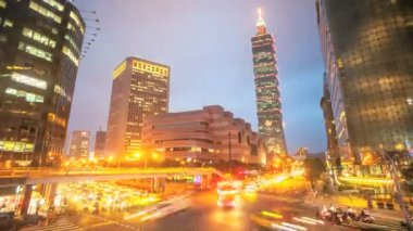Nice night view of Taipei city — Stock Video