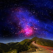 High mountain night view with nice — Stock Photo