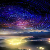 High mountain with galaxy — Stock Photo