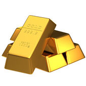 Aantal goudstaven geïsoleerd — Stockfoto