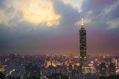Full view of Taipei, Taiwan evening — Stock Photo