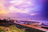 Sunset road am strand — Stockfoto