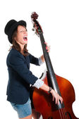Woman in black hat play double bass — Stock Photo