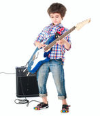 Estilo de britpop menino pequeno com electoguitar e guitarra combo completo — Foto Stock