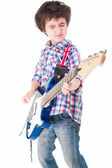 Little boy britpop style with electoguitar eyes closed — Stock Photo