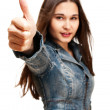 Young woman shows thumb up — Stock Photo #8056189