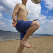 Stock Photo: Summer soccer on the beach
