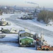 Frosty river  Volga in winter - Foto Stock