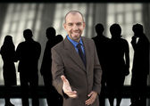 Happy manager and group(made from my images) — Stockfoto
