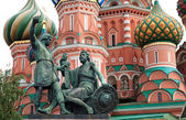 Dmitry Pozharsky and Kuzma Minin monument .Russia.Moscow. — Stock Photo