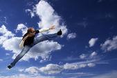 Sky man(modern superman) — Stock Photo
