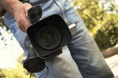 Video shooting(special photo fx,focus poit on the lens) — Stock Photo