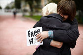 Free Hugs from Russia — Stock Photo
