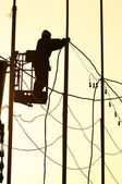 Repair of electric wires — Stok fotoğraf