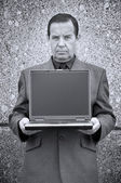 Money-maker with laptop — Stock Photo