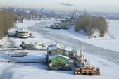 Frosty river Volga in winter — Stock Photo